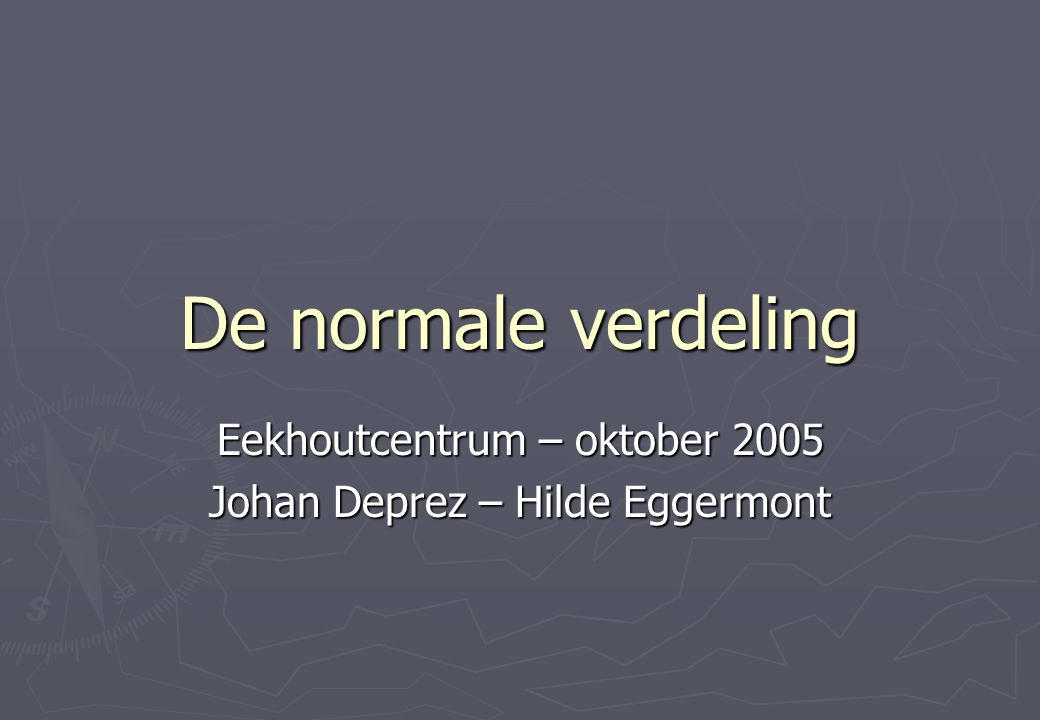 Eekhoutcentrum – oktober 2005 Johan Deprez – Hilde Eggermont