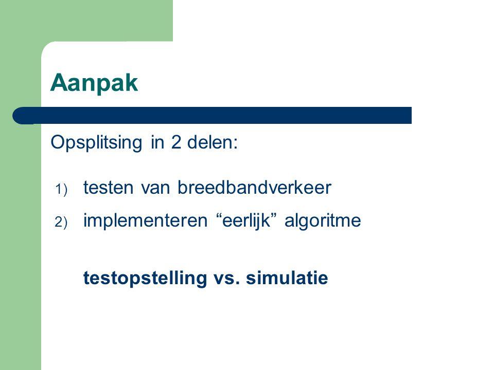 Aanpak Opsplitsing in 2 delen: testen van breedbandverkeer