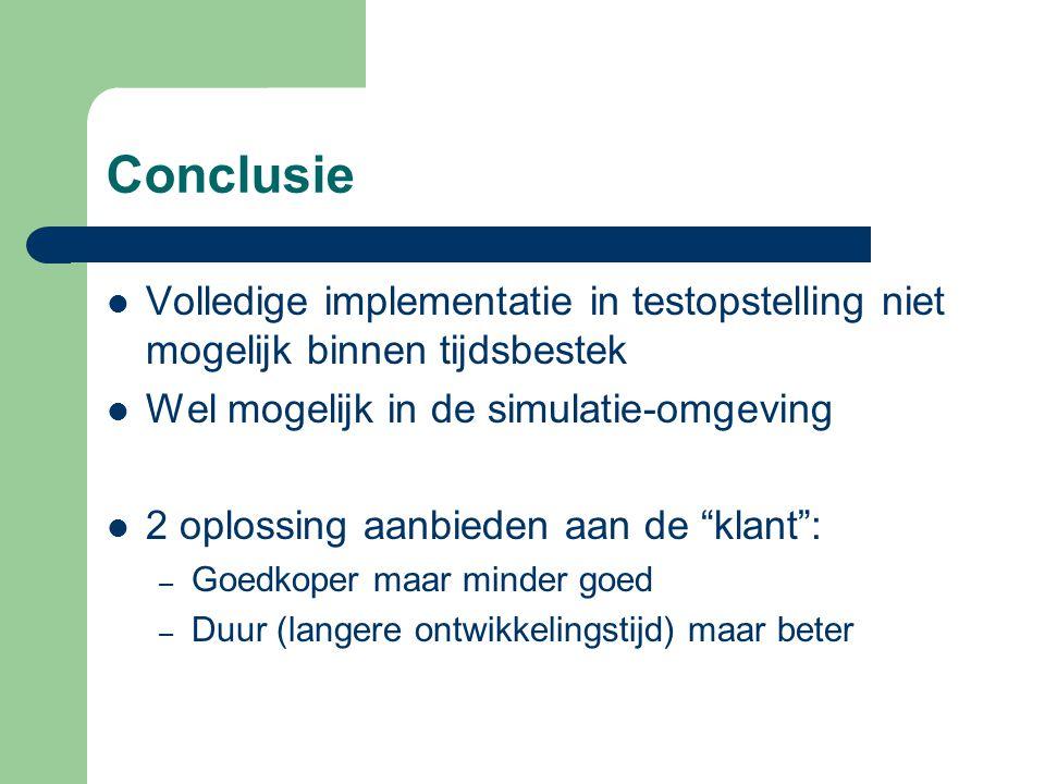 Conclusie Volledige implementatie in testopstelling niet mogelijk binnen tijdsbestek. Wel mogelijk in de simulatie-omgeving.