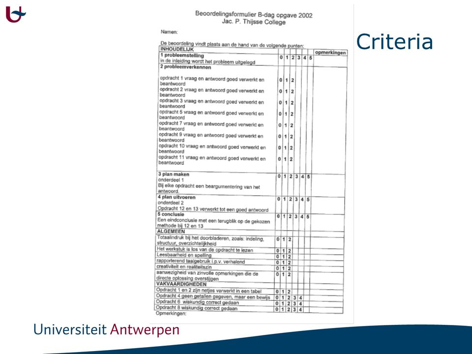 Evaluatie in februari 1. 1159A 5. 1113A 6. 1193A 12. 11949B 17. 1489A