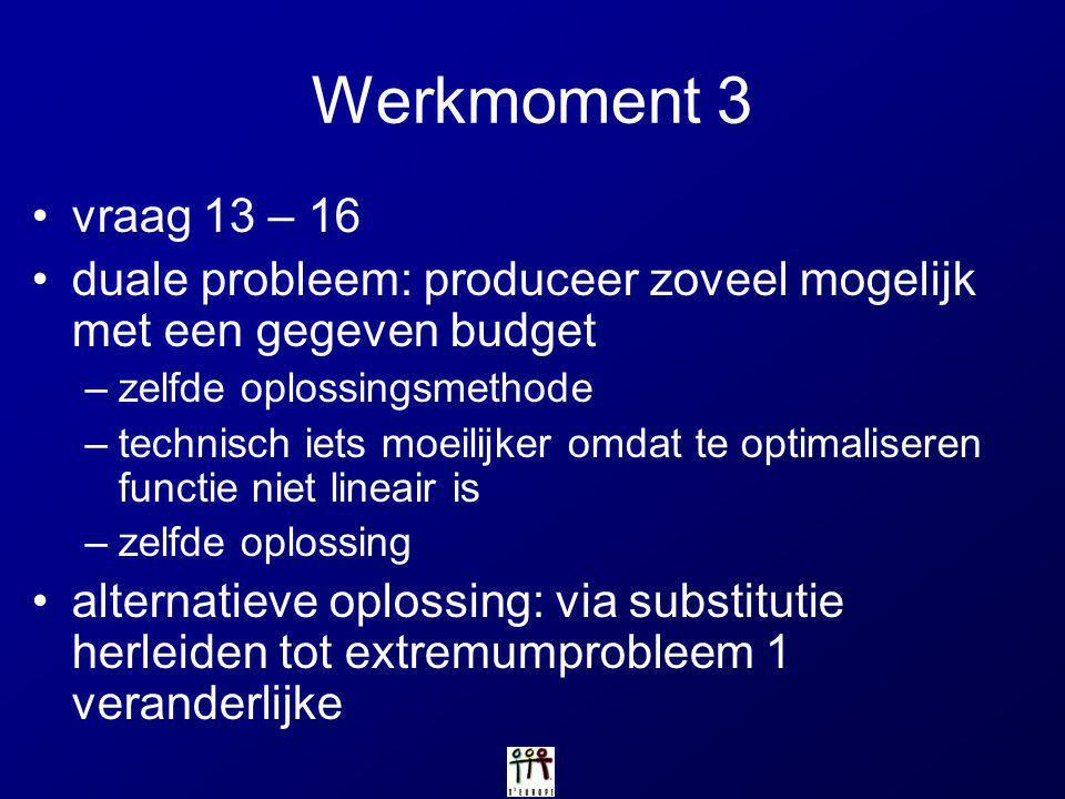 Werkmoment 3 vraag 13 – 16. duale probleem: produceer zoveel mogelijk met een gegeven budget. zelfde oplossingsmethode.