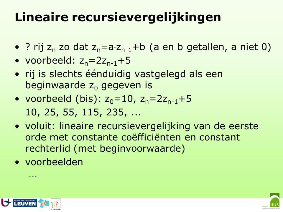 Lineaire recursievergelijkingen
