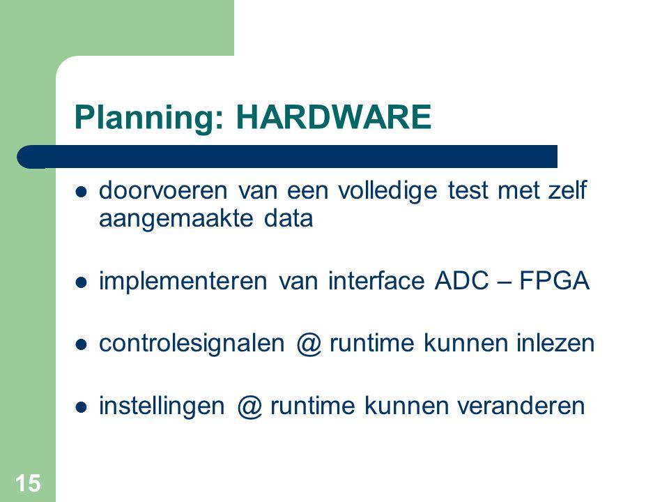 Doel van het project Planning: HARDWARE. doorvoeren van een volledige test met zelf aangemaakte data.