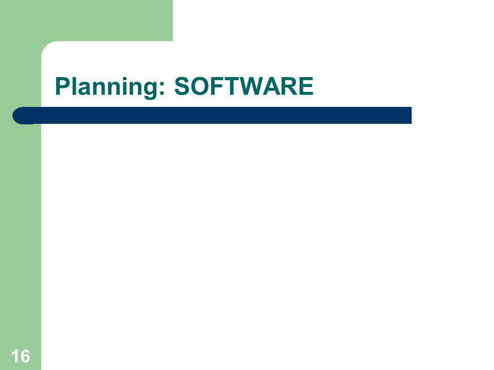 Doel van het project Planning: SOFTWARE
