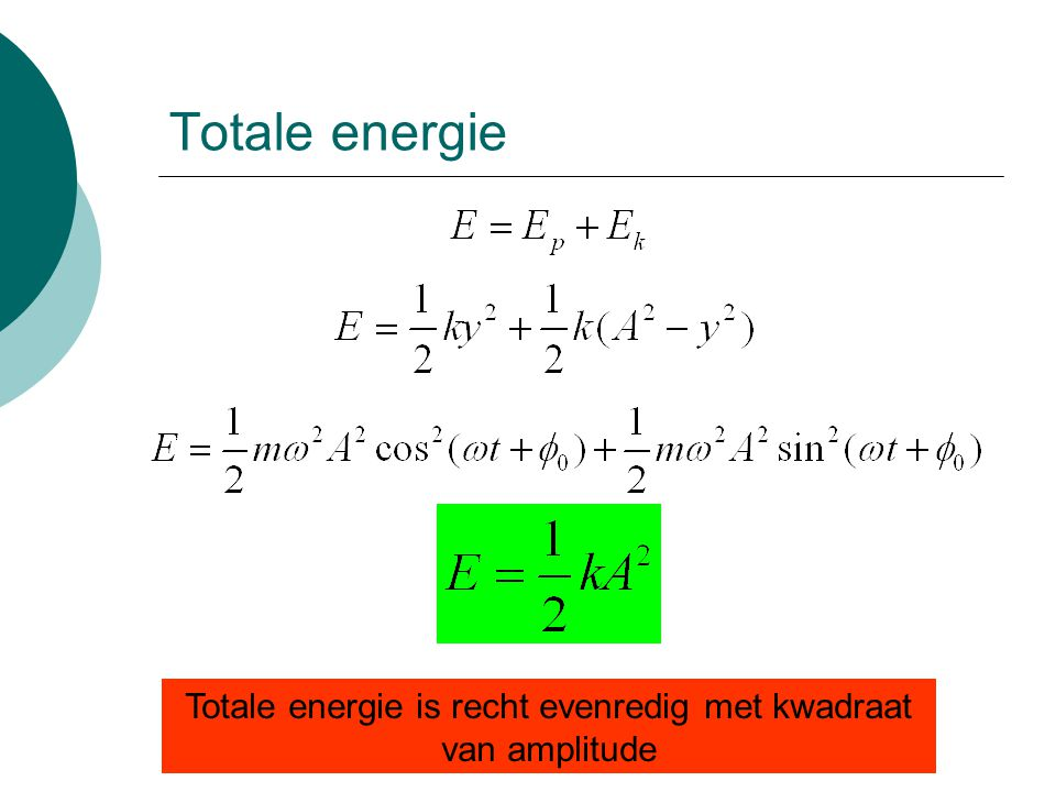 Totale energie is recht evenredig met kwadraat van amplitude
