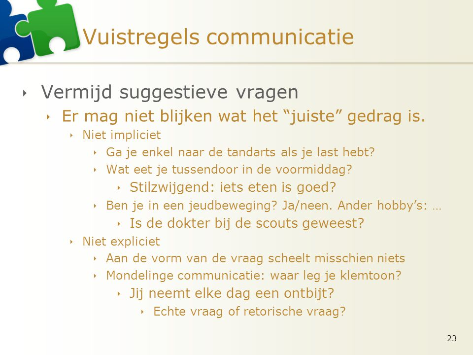 Vuistregels communicatie