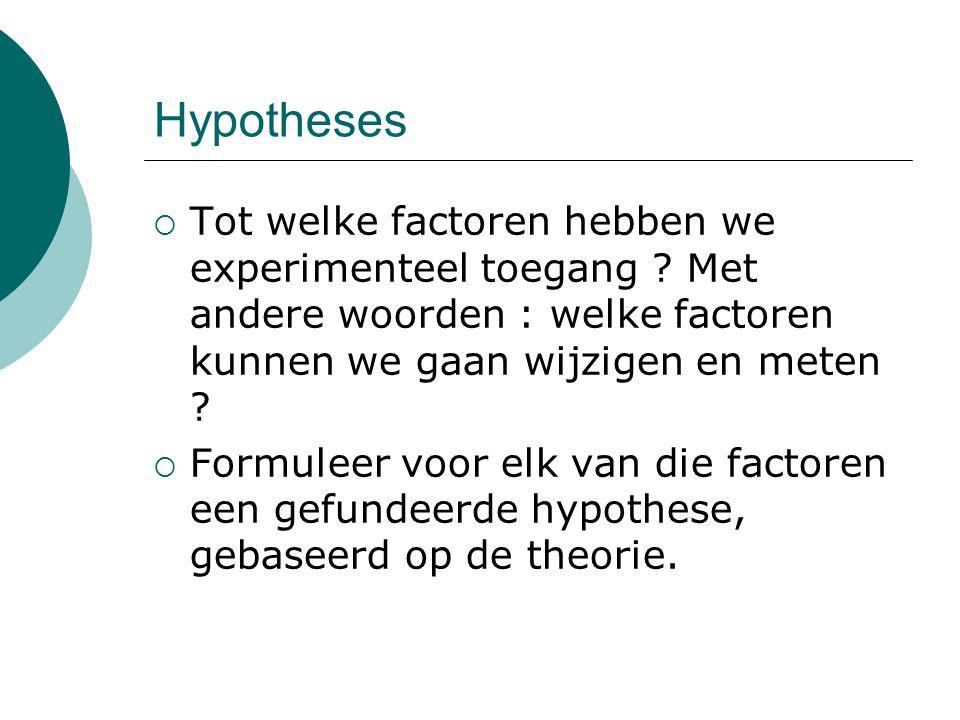 Hypotheses Tot welke factoren hebben we experimenteel toegang Met andere woorden : welke factoren kunnen we gaan wijzigen en meten