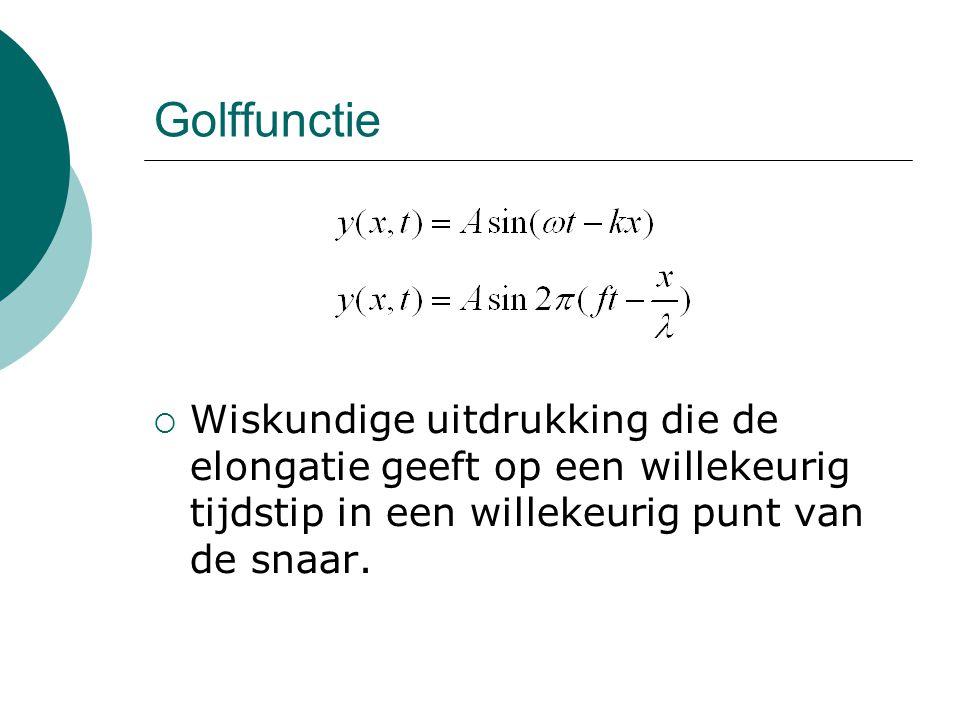 Golffunctie Wiskundige uitdrukking die de elongatie geeft op een willekeurig tijdstip in een willekeurig punt van de snaar.