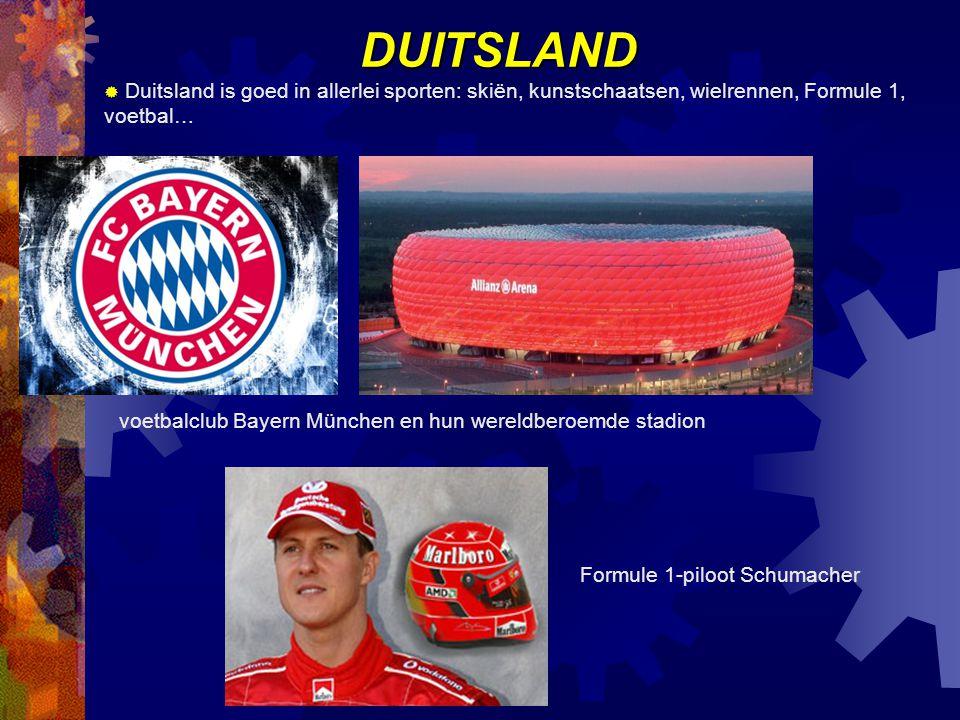 DUITSLAND Duitsland is goed in allerlei sporten: skiën, kunstschaatsen, wielrennen, Formule 1, voetbal…