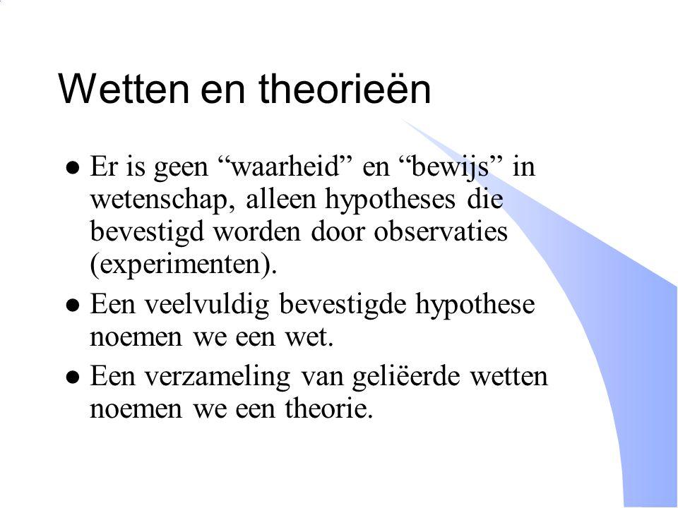 Wetten en theorieën Er is geen waarheid en bewijs in wetenschap, alleen hypotheses die bevestigd worden door observaties (experimenten).
