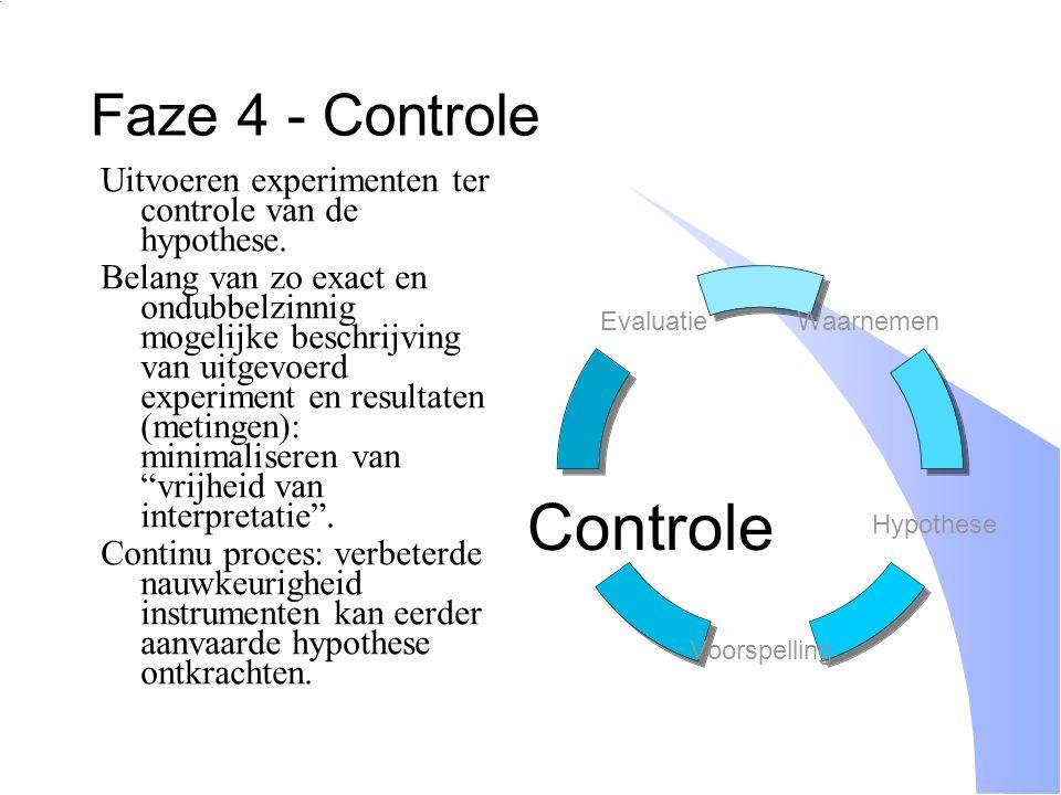 Faze 4 - Controle Uitvoeren experimenten ter controle van de hypothese.