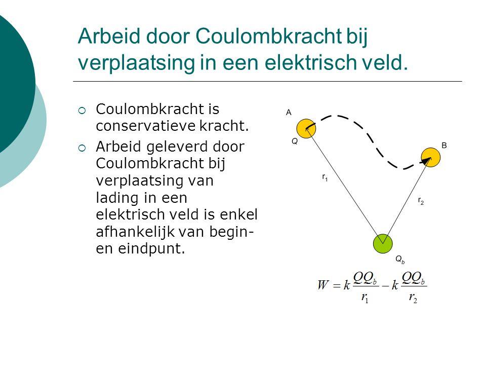 Arbeid door Coulombkracht bij verplaatsing in een elektrisch veld.