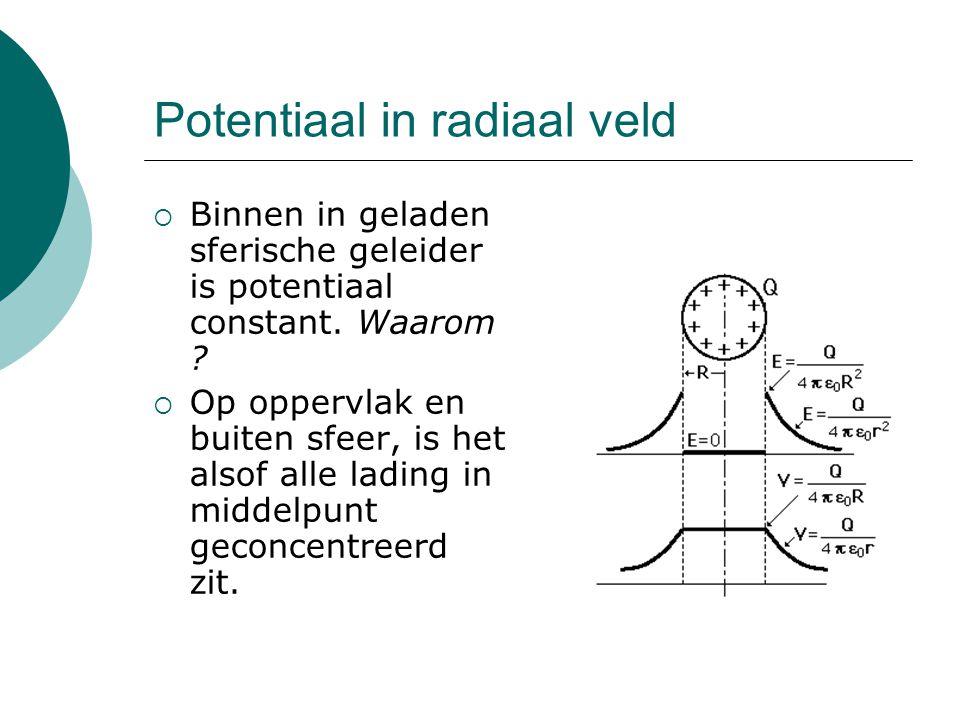 Potentiaal in radiaal veld