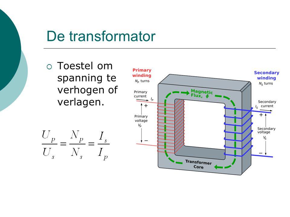 De transformator Toestel om spanning te verhogen of verlagen.