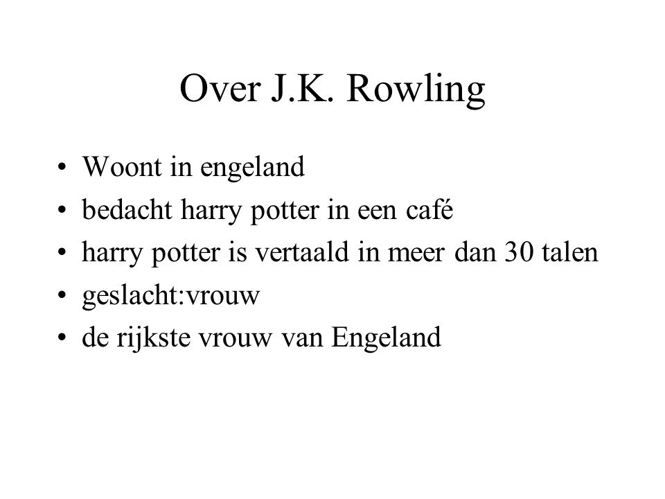 Over J.K. Rowling Woont in engeland bedacht harry potter in een café
