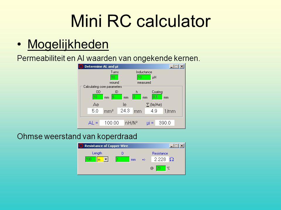 Mini RC calculator Mogelijkheden