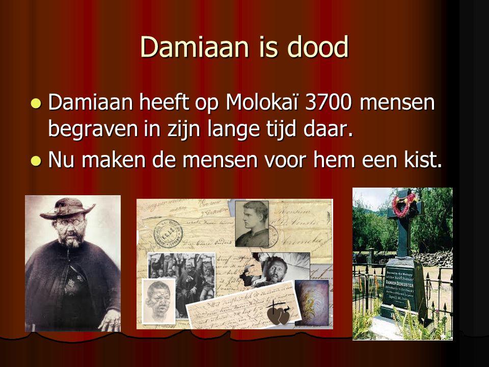 Damiaan is dood Damiaan heeft op Molokaï 3700 mensen begraven in zijn lange tijd daar.