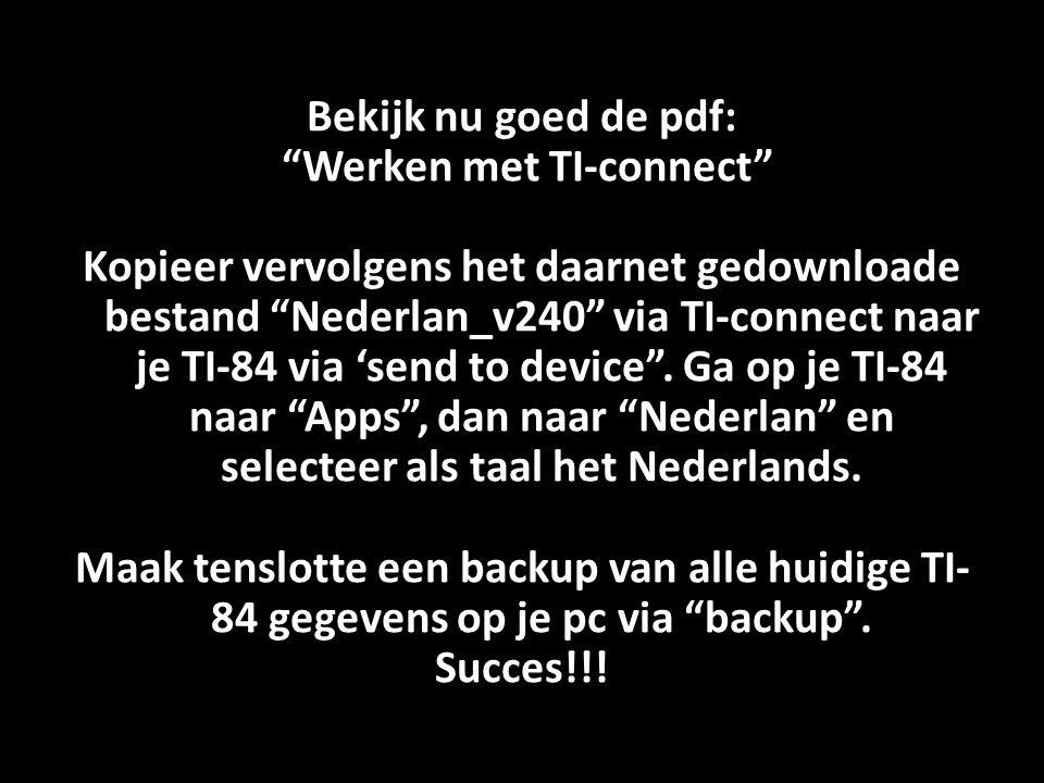 Werken met TI-connect