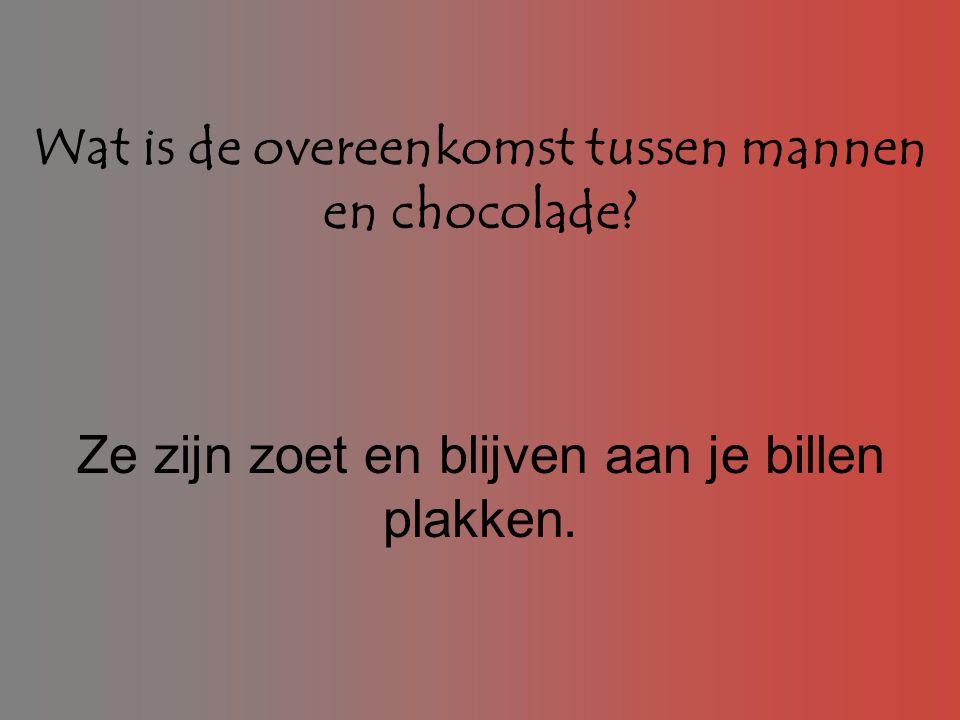 Wat is de overeenkomst tussen mannen en chocolade