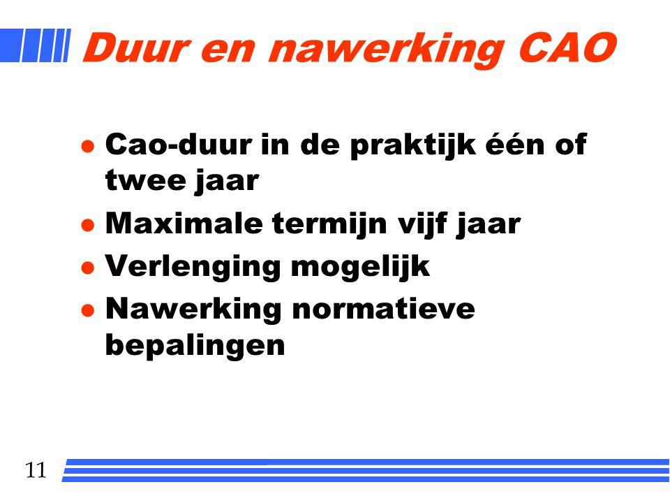 Duur en nawerking CAO Cao-duur in de praktijk één of twee jaar
