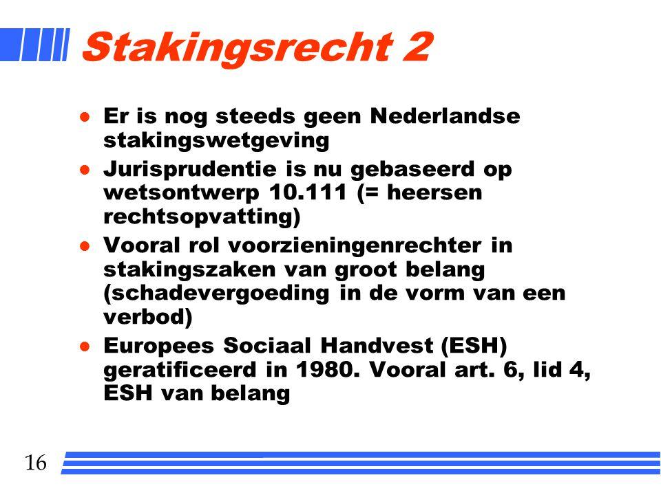 Stakingsrecht 2 Er is nog steeds geen Nederlandse stakingswetgeving