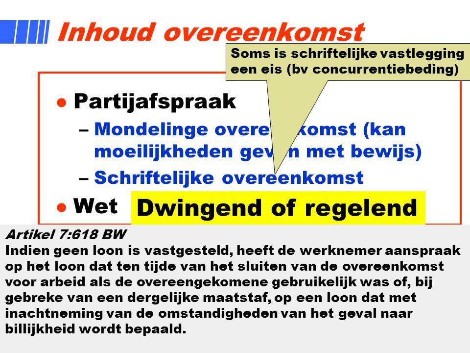 Inhoud overeenkomst Dwingend of regelend Partijafspraak Wet Gewoonte