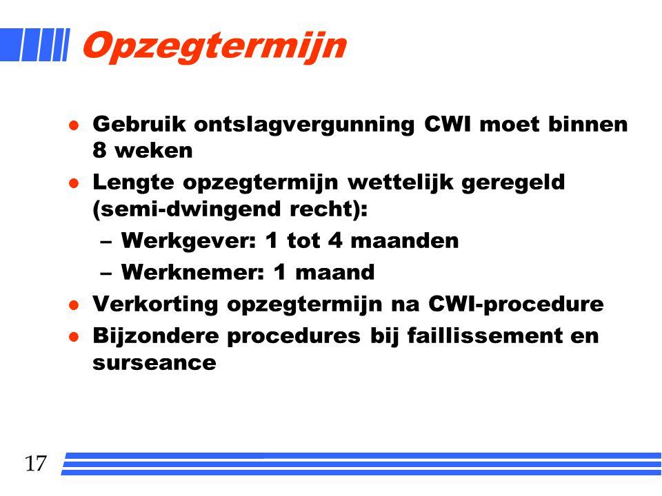 Opzegtermijn Gebruik ontslagvergunning CWI moet binnen 8 weken