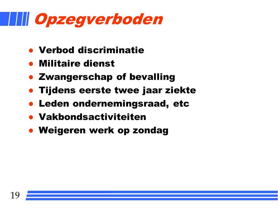 Opzegverboden Verbod discriminatie Militaire dienst
