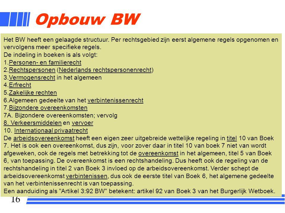 Opbouw BW Het BW heeft een gelaagde structuur. Per rechtsgebied zijn eerst algemene regels opgenomen en vervolgens meer specifieke regels.