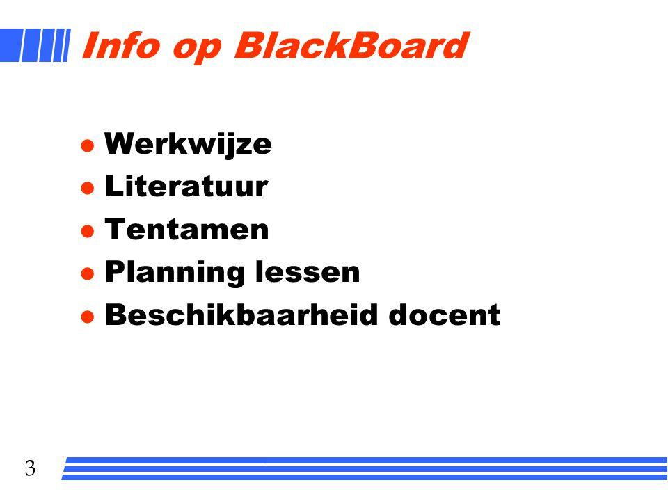 Info op BlackBoard Werkwijze Literatuur Tentamen Planning lessen