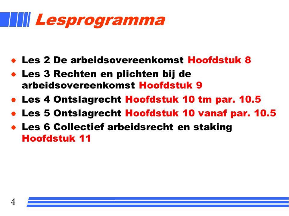 Lesprogramma Les 2 De arbeidsovereenkomst Hoofdstuk 8