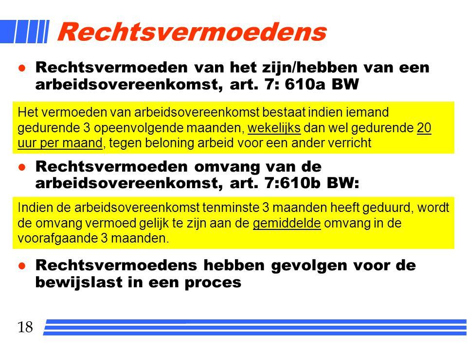 Rechtsvermoedens Rechtsvermoeden van het zijn/hebben van een arbeidsovereenkomst, art. 7: 610a BW.