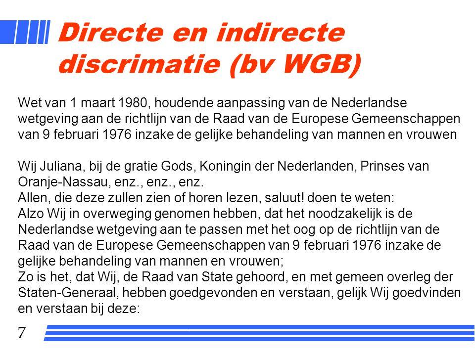 Directe en indirecte discrimatie (bv WGB)