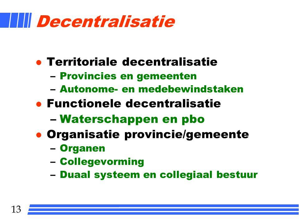 Decentralisatie Territoriale decentralisatie