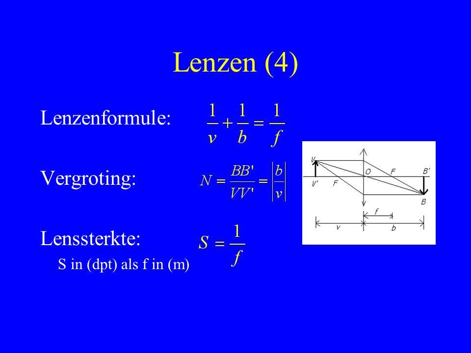 Lenzen (4) Lenzenformule: Vergroting: Lenssterkte: