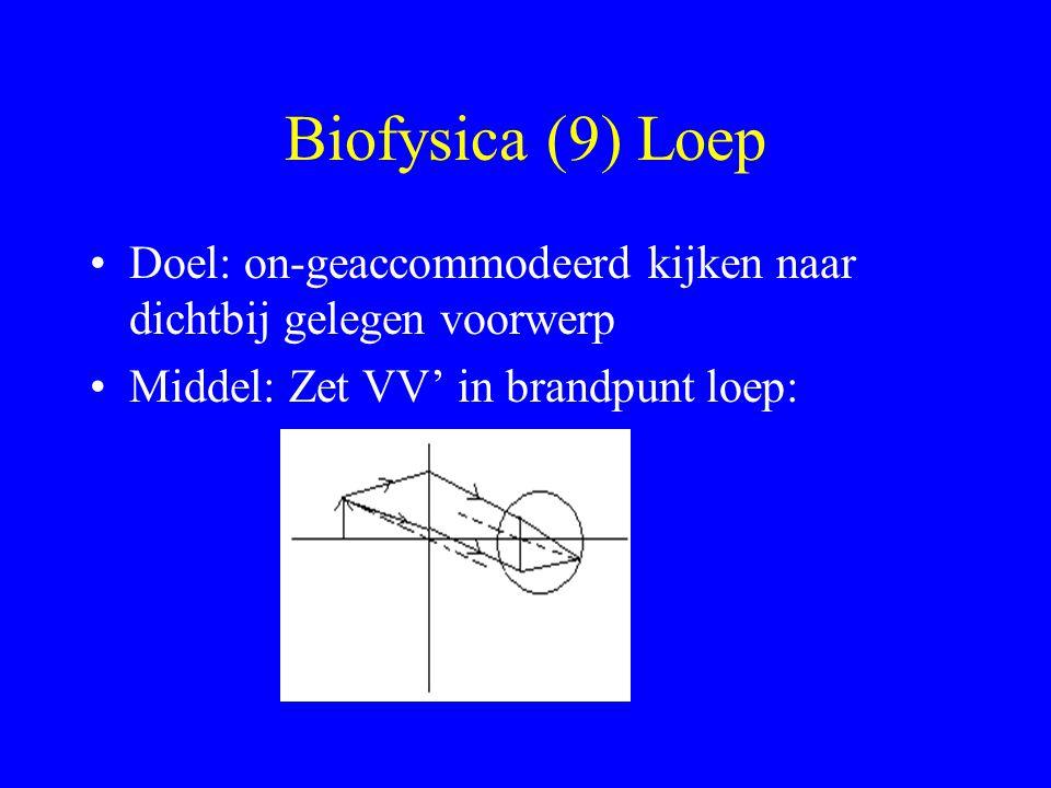 Biofysica (9) Loep Doel: on-geaccommodeerd kijken naar dichtbij gelegen voorwerp.
