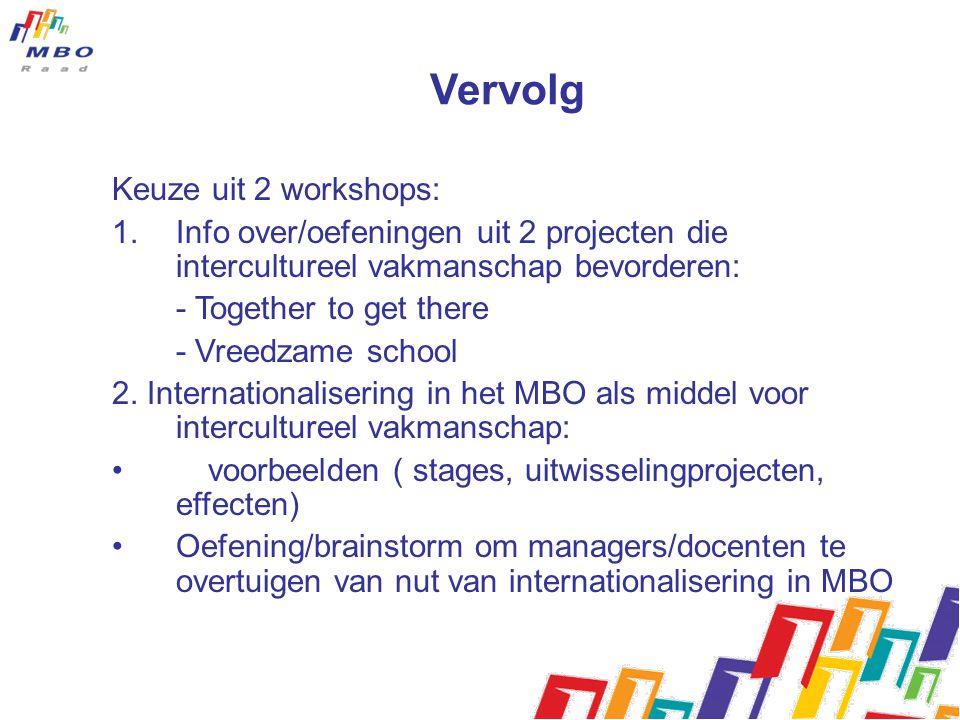 Vervolg Keuze uit 2 workshops:
