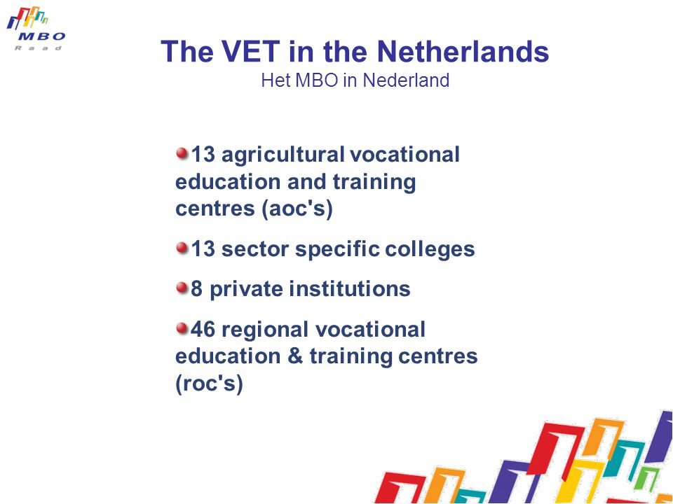 The VET in the Netherlands Het MBO in Nederland