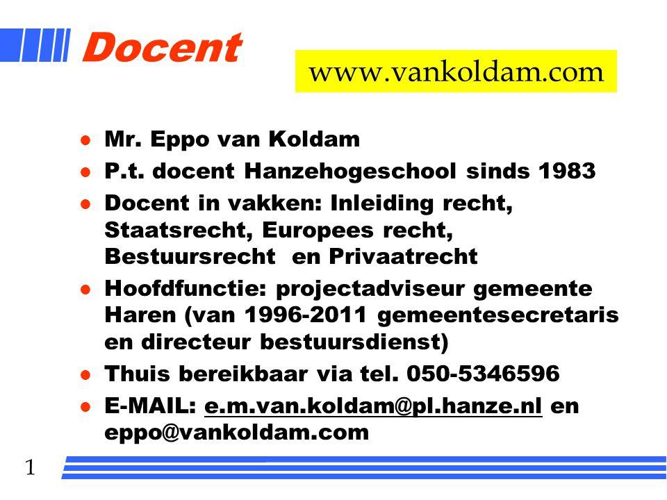Docent www.vankoldam.com Mr. Eppo van Koldam