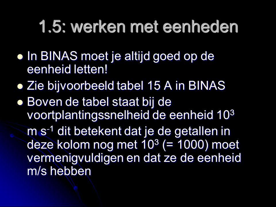 1.5: werken met eenheden In BINAS moet je altijd goed op de eenheid letten! Zie bijvoorbeeld tabel 15 A in BINAS.