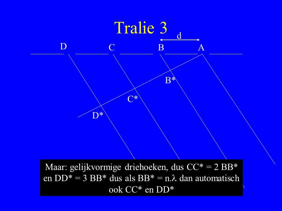 Tralie 3 d. D. C. B. A. B* C* D* Maar: gelijkvormige driehoeken, dus CC* = 2 BB* en DD* = 3 BB* dus als BB* = n.l dan automatisch.