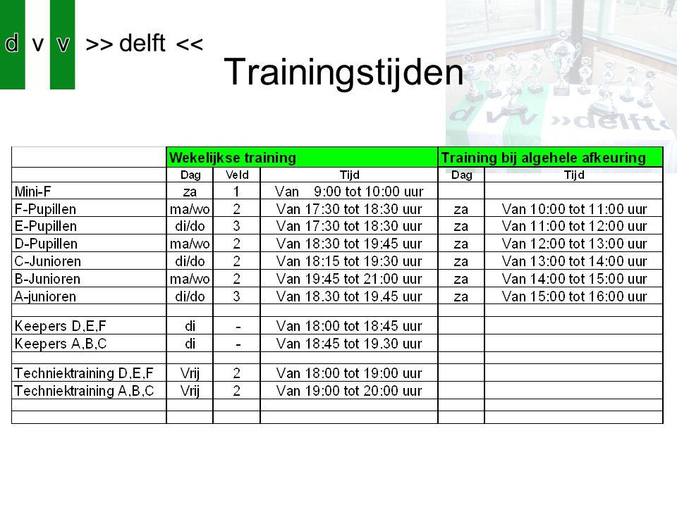 Trainingstijden