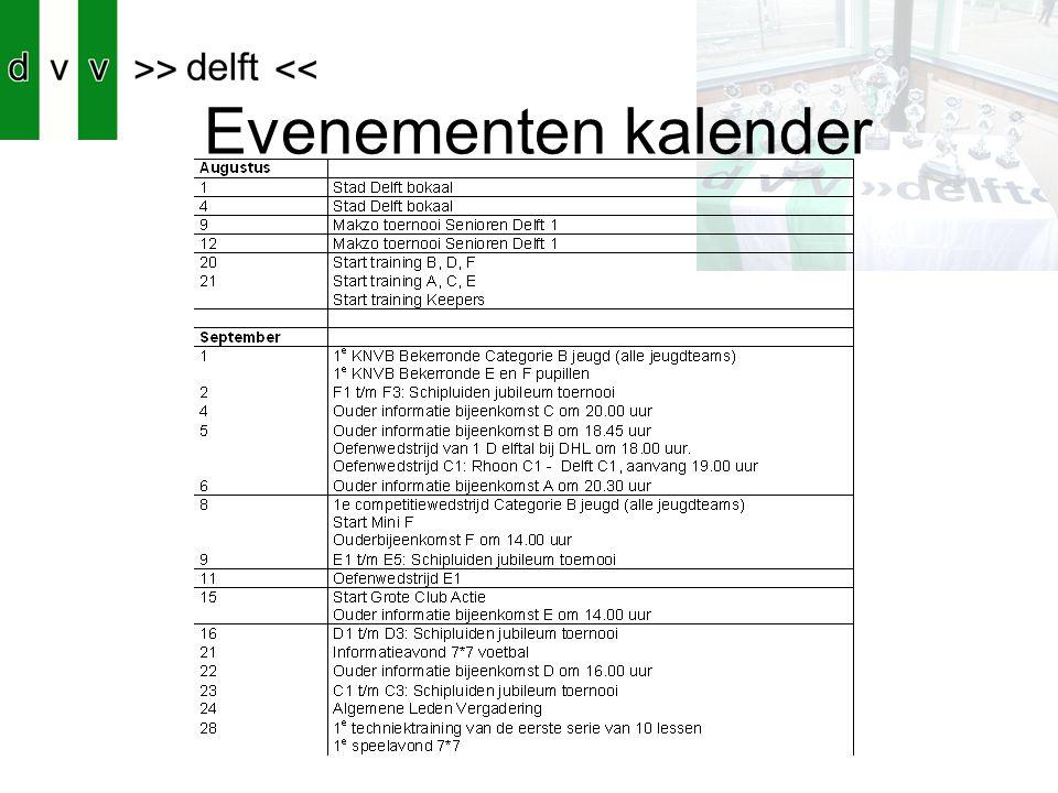 Evenementen kalender