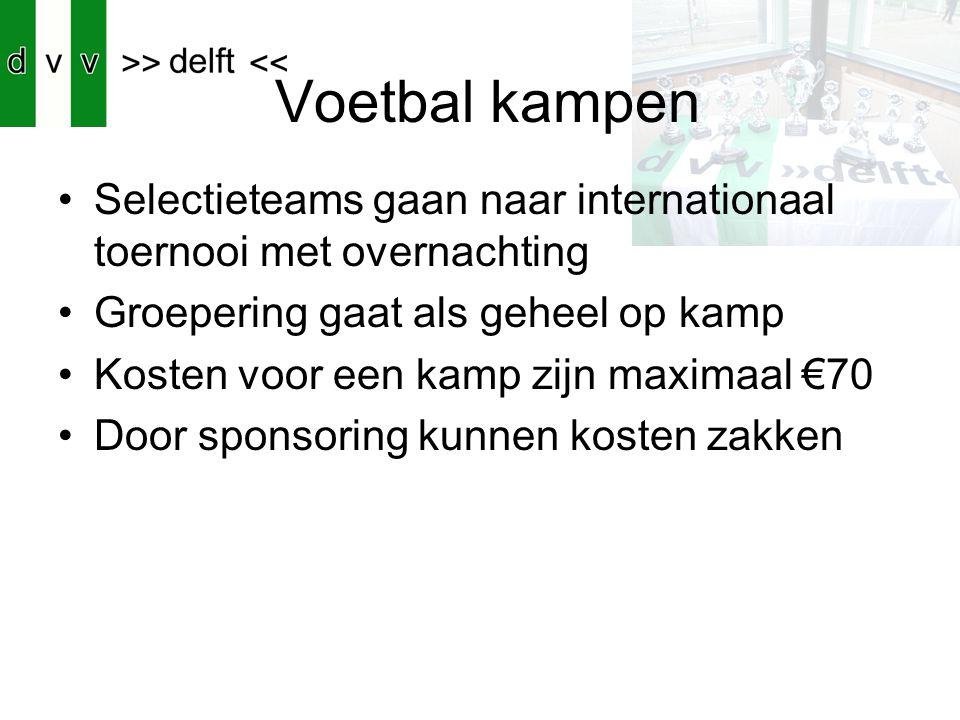 Voetbal kampen Selectieteams gaan naar internationaal toernooi met overnachting. Groepering gaat als geheel op kamp.