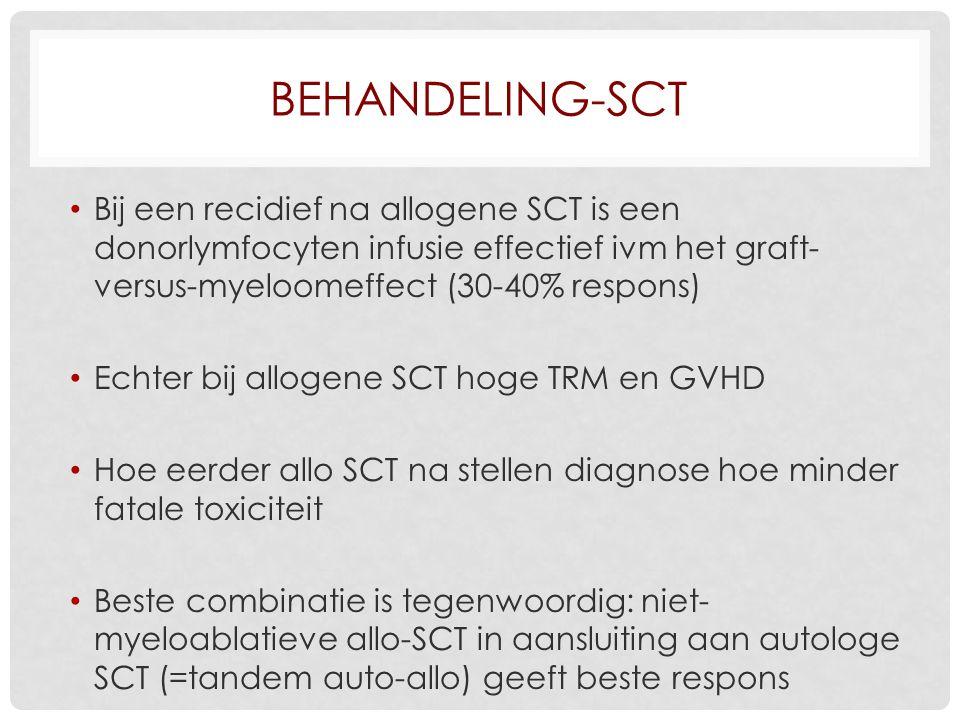 Behandeling-SCT Bij een recidief na allogene SCT is een donorlymfocyten infusie effectief ivm het graft-versus-myeloomeffect (30-40% respons)