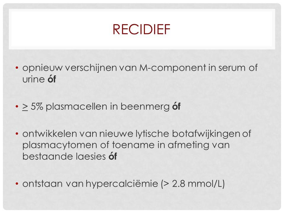 Recidief opnieuw verschijnen van M-component in serum of urine óf