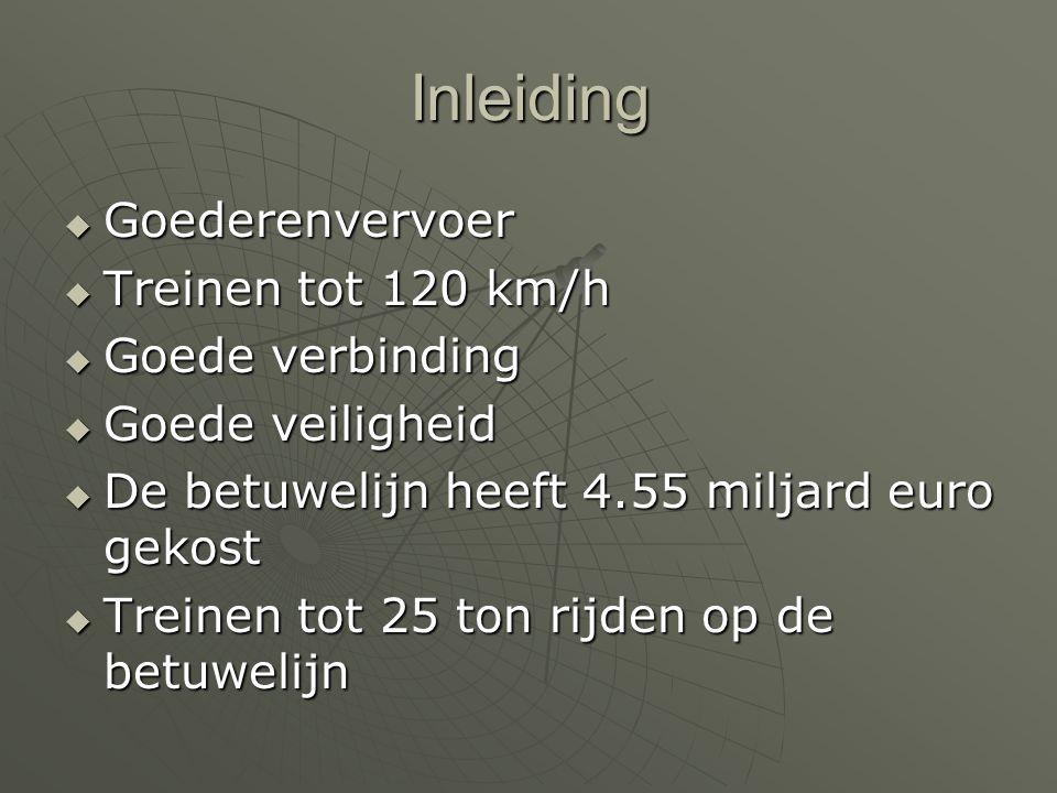 Inleiding Goederenvervoer Treinen tot 120 km/h Goede verbinding