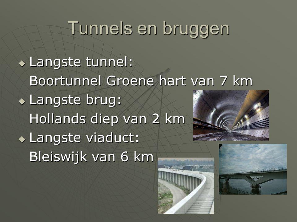 Tunnels en bruggen Langste tunnel: Boortunnel Groene hart van 7 km