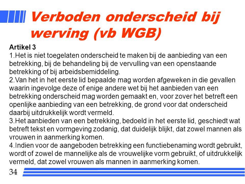 Verboden onderscheid bij werving (vb WGB)