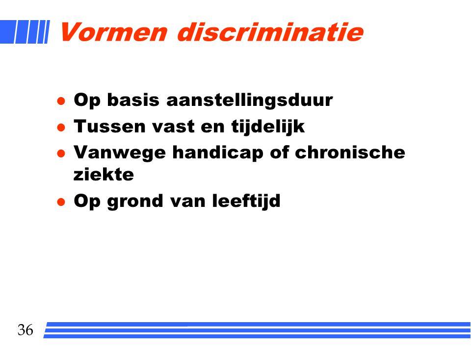 Vormen discriminatie Op basis aanstellingsduur